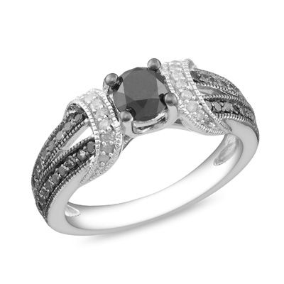 1 CT. Enhanced Black and White Diamond Station Engagement Ring