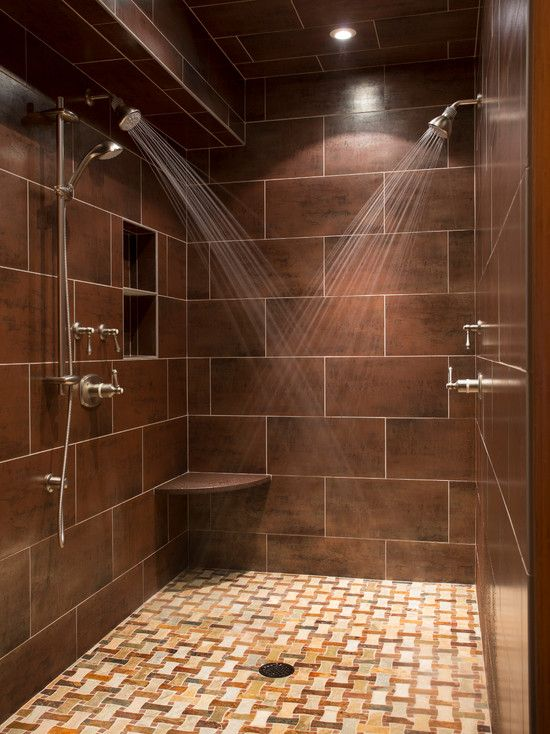 Shower Design Ideas urban style black framed glass doors walk in shower design Cozy Dual Shower Designs Ideas Dual Shower Designs And Brown Tile Wall And Recessed Ceiling