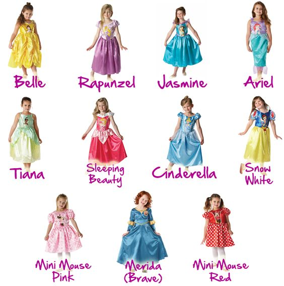 princess costumes for girls | New Disney Princess Girls Fancy Dress Costume Childrens Child Outfit 3 ...