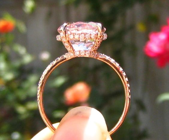 Peachy Pink Morganite in Rose Gold Diamond by JuliaBJewelry