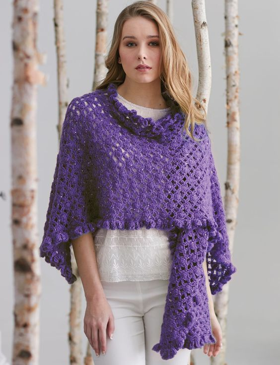 Patons Free Crochet Shawl Patterns : Ruffle Edge Wrap crocheted in Patons Lace Sequin Shawls ...