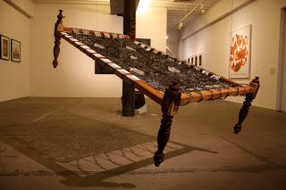 Weaving in, barbed wire, mild steel, wood, rope, 4 x 6 x 3.5 feet, 2010