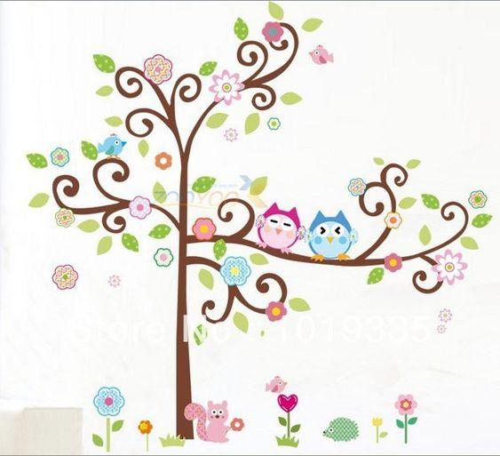 Idee wohnzimmer ideen selber machen Cute Cartoon Owls Tree