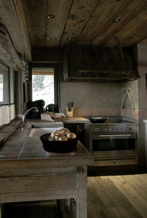 Rustic and modern meet in the kitchen