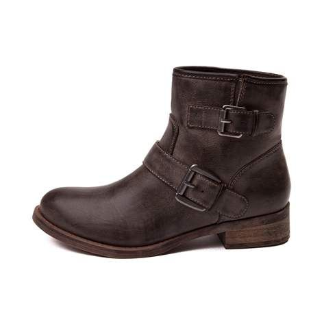 Buckle down this season with the trendy new Jo Jo Boot from SHI by Journeys! Tie any ensemble together with the Jo Jo Boot, featuring an ankle boot design with vintage washed uppers and buckle strap details.   <br><br><u>Features include</u>:<br> > Synthetic leather upper with breathable textile lining<br> > Side gusset with buckle detail<br> > Lightly padded footbed for comfort<br> > Durable rubber outsole provides flexible traction<br>