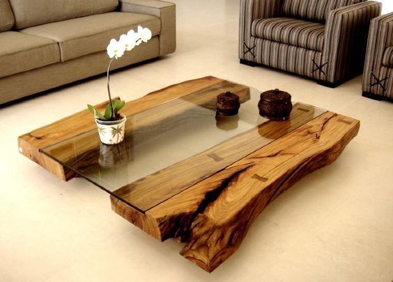 """mesa de centro """"Monte Alegre """" madeira selvagem e vidro"""