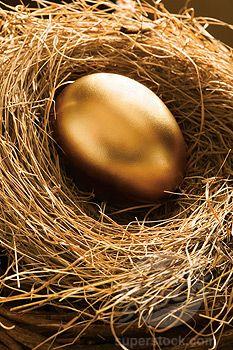 make fake bird's nest w/ golden eggs along trees in walkway :)