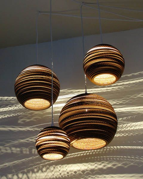 Pendant light fixtures made of corrugated paper contemporary lighting design from graypants - Paper light fixtures ...