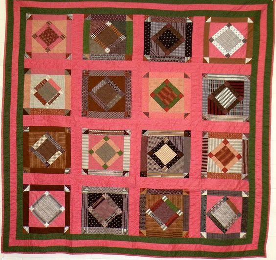 Adams Co., PA ~ 1870s. quilt with pink sashing - I'm not a pink person, but it makes this quilt sing!