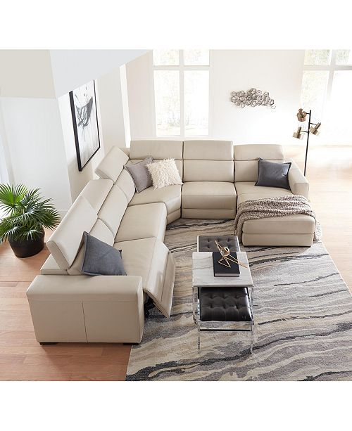 Furniture Nevio Leather Power Reclining Sectional Sofa With Articulating Headrests Collection Created For Macy S Reviews Furniture Macy S Modern Leather Sectional Sofas Sectional Sofa With Chaise Sectional Sofa With Recliner