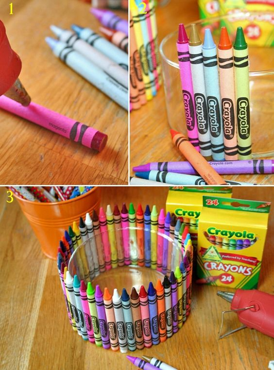 DIY: Crayola crayon bowl. Cute with a little plant tucked inside. OR could do a glass  and present as a pencil/pen holder....