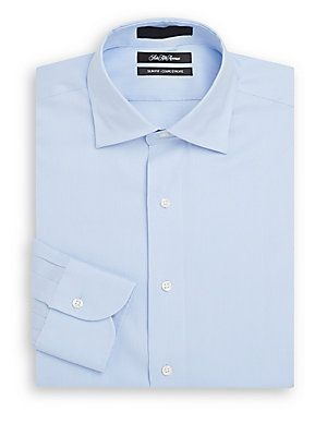 Saks Fifth Avenue Slim-Fit Corded Stripe Dress Shirt - Light Blue - Si