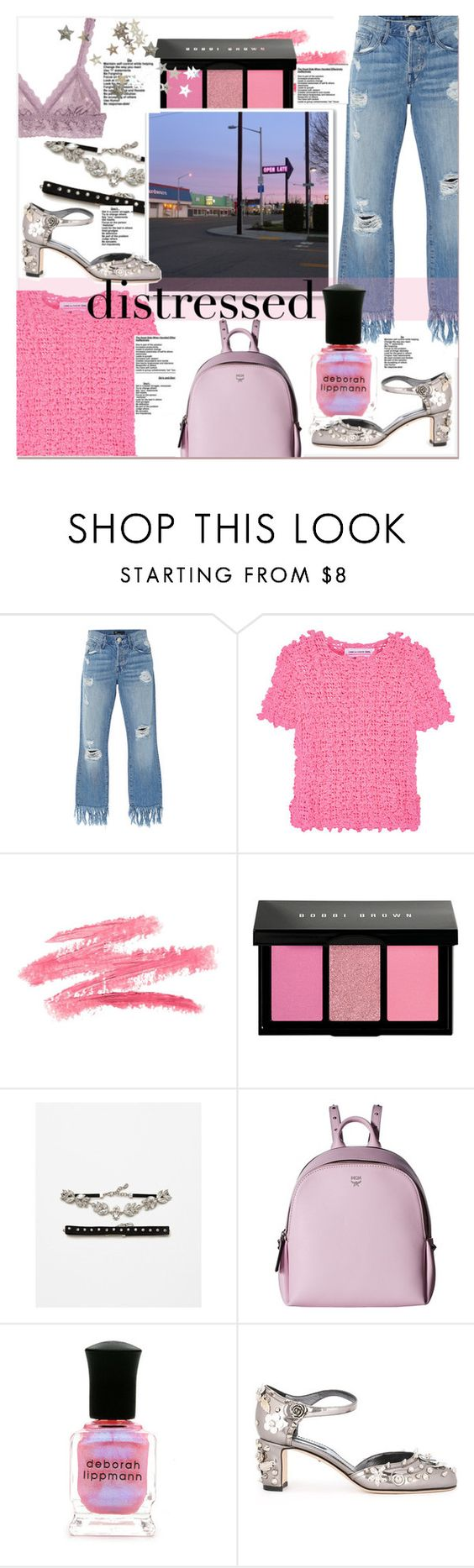 """""""Dressed in distressed"""" by fashionistalooks ❤ liked on Polyvore featuring 3x1, Comme des Garçons GIRL, Bobbi Brown Cosmetics, MCM, Deborah Lippmann, Dolce&Gabbana and Hanky Panky"""
