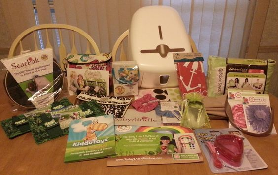 "Our ""Pin it to Win it"" winner posted a photo of all of her goodies.  Thanks for Playing with Kiddo Tags!"