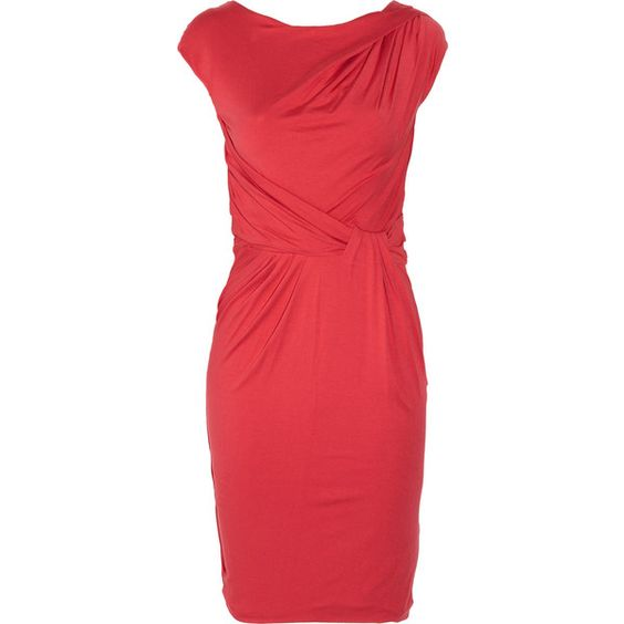 Ce Me London Kate Jersey Dress ($73) ❤ liked on Polyvore featuring dresses, women, holiday cocktail dresses, holiday dresses, red dress, pink evening dress and ruched cocktail dress