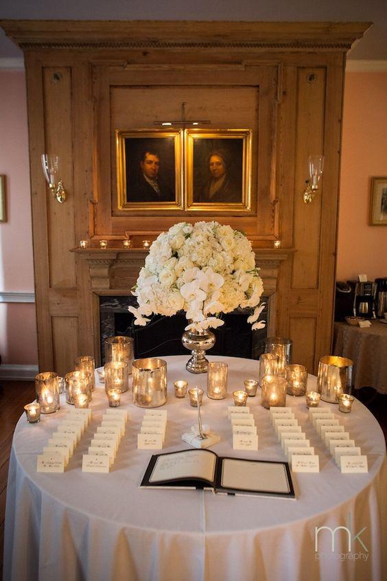Beautiful Blooms Morris House Hotel MK Photo Mercury Glass White Wedding Hydrangea Phalenopsis Orchids Candlelight