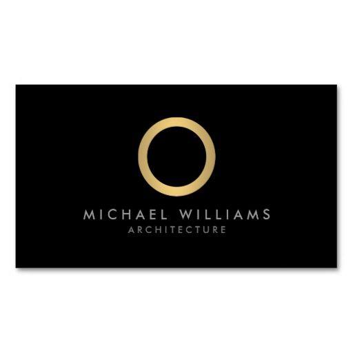 Modern simple gold circle black business card template for Circle business card template