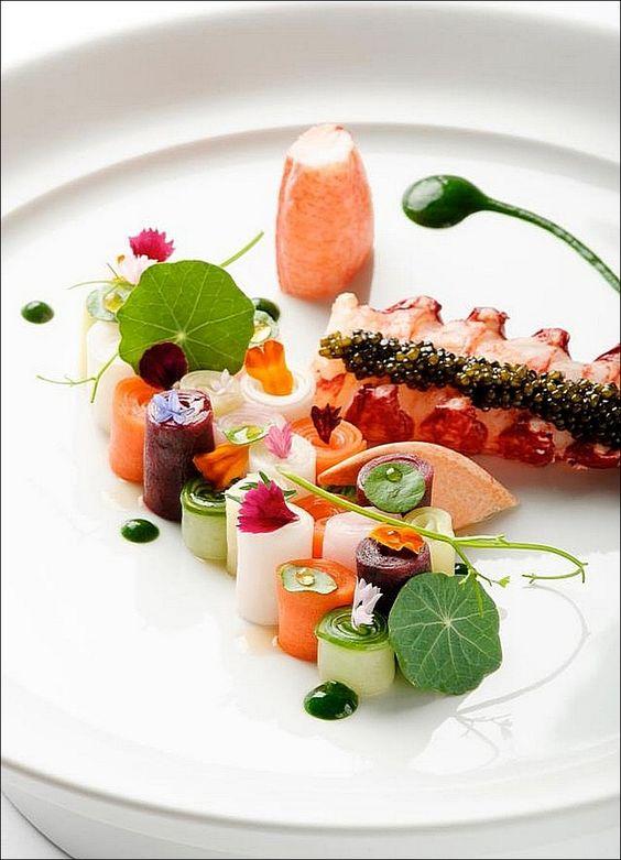 Homard ou langouste j 39 h site from pinterest - Dressage des plats en cuisine ...