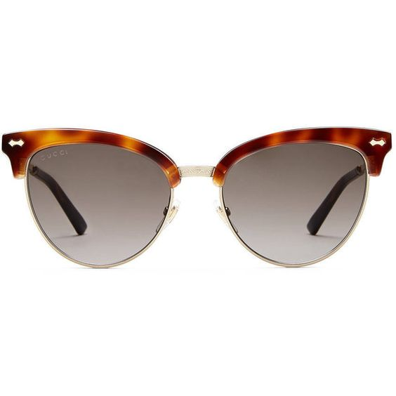 Gucci Cat-Eye Acetate Sunglasses ($395) ❤ liked on Polyvore featuring accessories, eyewear, sunglasses, tortoise shell sunglasses, gucci glasses, cateye sunglasses, cat eye sunglasses and gray sunglasses