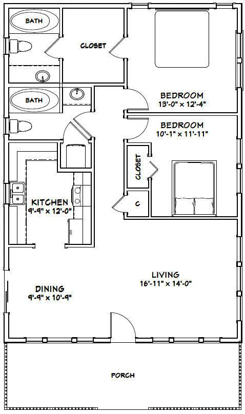 28x40 House 2 Bedroom 2 Bath Pdf Floor Plan 1 120 Sq Ft Model 1b 29 99 Picclick Home Design Floor Plans Small House Plans Floor Plan Design