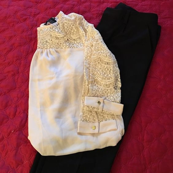 Forever 21 Lace Blouse Flowing high low blouse with lace yoke and sleeves. 3/4 sleeves, slightly see through. Forever 21 Tops Blouses