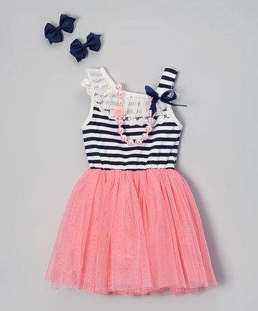 Coral Stripe Tutu Dress Set Infant Toddler Amp Girls