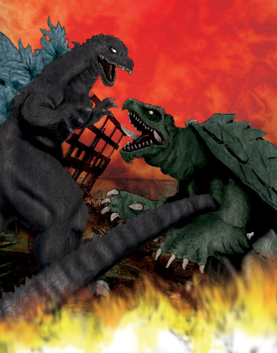 Godzilla Vs Gamera By Tlmolly86 On Deviantart Godzilla Vs Movie Monsters Japanese Monster