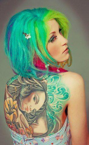 tattoo #inked #greenhair