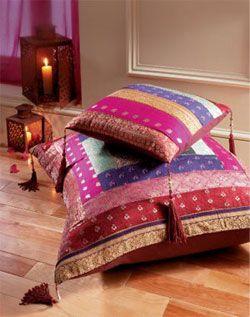 Antique sari cushion cover large. 80 x 80cm