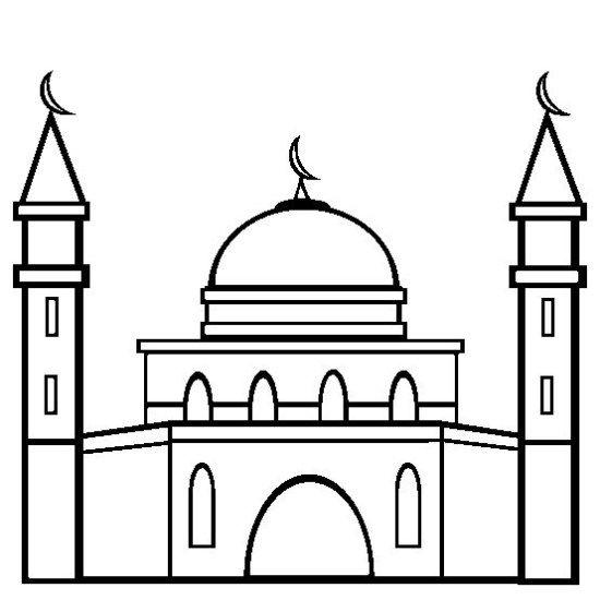 Gambar Mewarnai Masjid Ramadan Warna Halaman Mewarnai