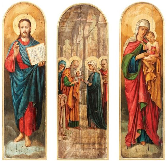 Icons of Jesus Christ, the Presentation of Christ in the Temple, and the Mother of God with Christ Child, Romanian school