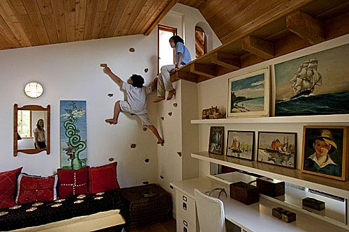 Rock climbing wall to more play space