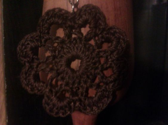 Chocolate crochet mandala, doily earrings.  ~Doily Designs