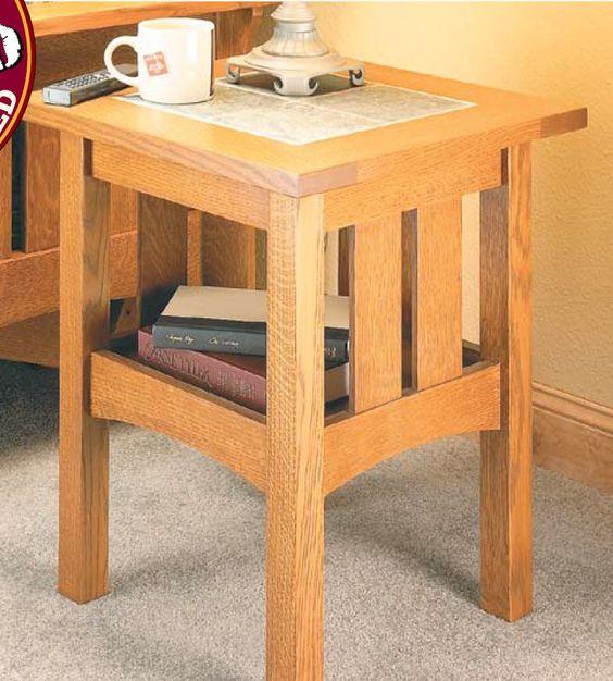 Tile top craftsman table woodsmith plans pinterest for Craftsman furniture plans