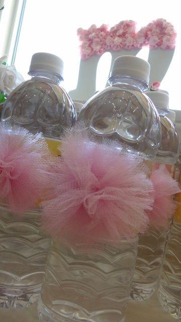 Girls baby shower. TuTu water bottles.
