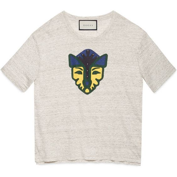 Gucci Feline Print Linen Jersey T-Shirt ($455) ❤ liked on Polyvore featuring men's fashion, men's clothing, men's shirts, men's t-shirts, linen, men, ready to wear, tshirts & polos, mens jerseys and mens jersey polo shirts
