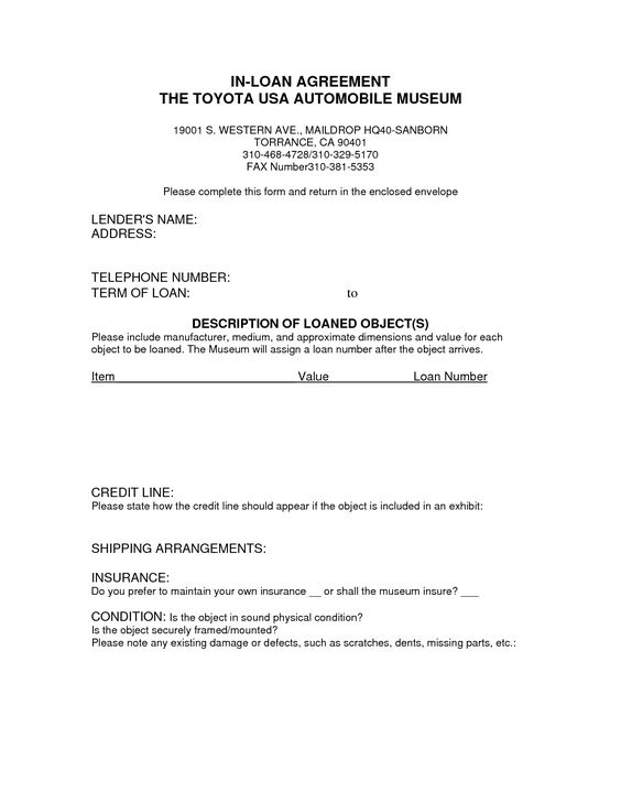 Printable Sample loan contract template Form – Contract of Loan Sample