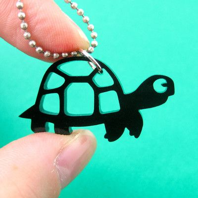 Baby turtles tortoise and turtles on pinterest baby turtle tortoise silhouette shaped acrylic pendant necklace in black 699 mozeypictures Choice Image