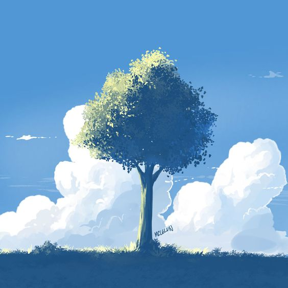 """Paint tree using firealpaca """"watercolor"""" brush which auto mix and blend color. timelapse video in my youtube www.youtube.com/watch?v=Q0MPkQ…"""