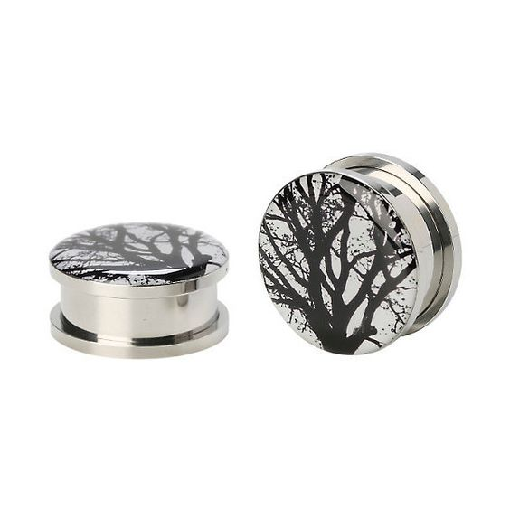 Steel Tree Silhouette Spool Plug 2 Pack Hot Topic ($17) ❤ liked on Polyvore featuring home and home decor