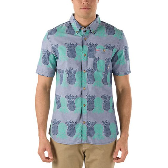 Vans Blue Rusden Pineapple Print Button-Down Shirt