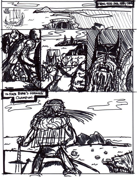 """Boru"" layout page.  From the Irish Heroes series I'm working on.  JB  comics"