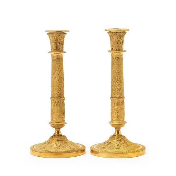 Par de casticais Franceses Imperio em bronze gilded a ouro, 31cm de altura, 11,980 USD / 10,770 EUROS / 43,210 REAIS / 78,570 CHINESE YUAN soulcariocantiques.tictail.com