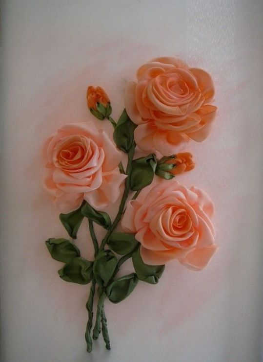 Ribbon embroidery roses work quilting and