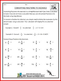 math worksheet : converting fractions to decimals worksheet a free converting  : Converting Fractions Into Decimals Worksheets