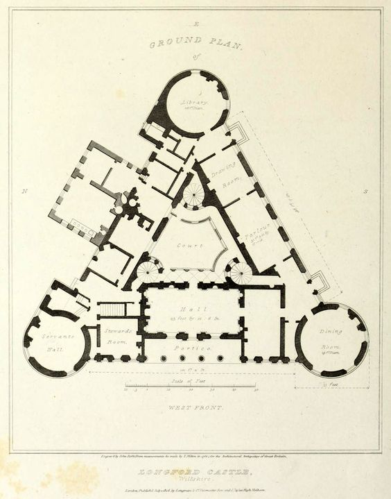 Plan of Longford Castle, Wiltshire | Floor Plans: Castles ...