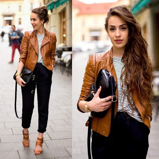 Markéta Bártová - Style Moi Brown Leather Bier Jacket, Oasap Black Crossbody, Frontrowshop Black Linen Trousers, Pull & Bear Brown Heeled Sandals - Is She Gon Pop