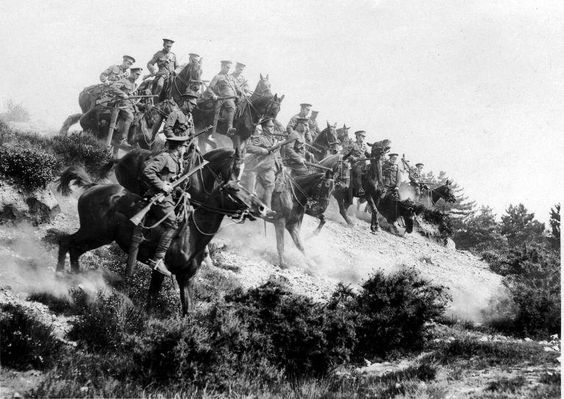 English cavalry in action at the western front in France, 1916    From: The Dutch National Archives