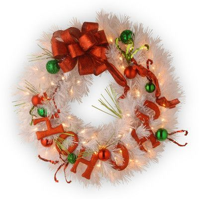 National Tree Co. Decorative Pre-Lit Ho Ho Ho Wreath with 50 Battery-Operated White LED Lights