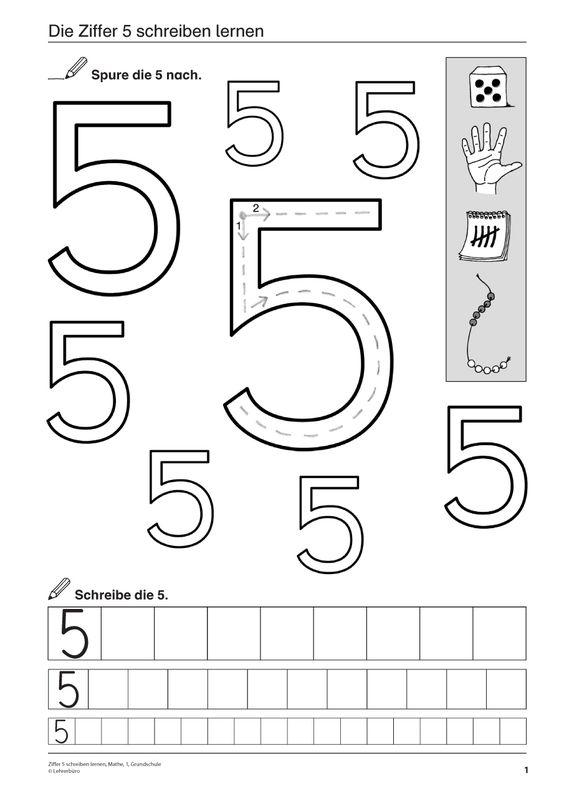 Ziffer 5 schreiben lernen, Mathematik, 1. Klasse und Vorschule